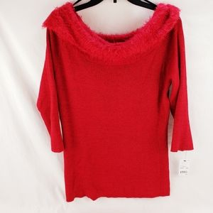 Women's Red Christmas Cowl Neck Sweater Large New